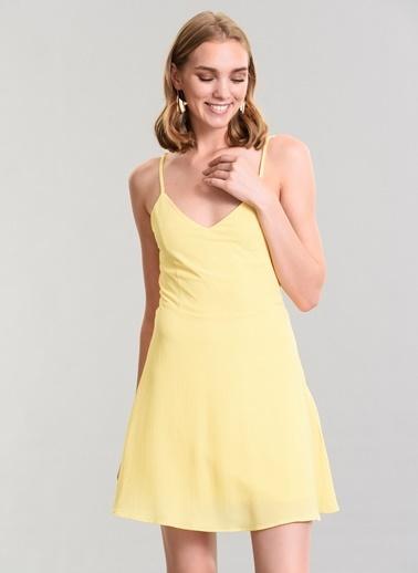 Agenda Sırtı Bağcık Detaylı Elbise Sarı